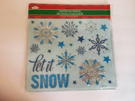 New Christmas House Window Decor 9.75 x 11.5 Let It Snow Snowflakes Winter - $6.79