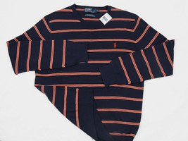 NEW $125 Polo Ralph Lauren Pure Pima Cotton Striped Sweater! Red, Navy or Green - $59.99