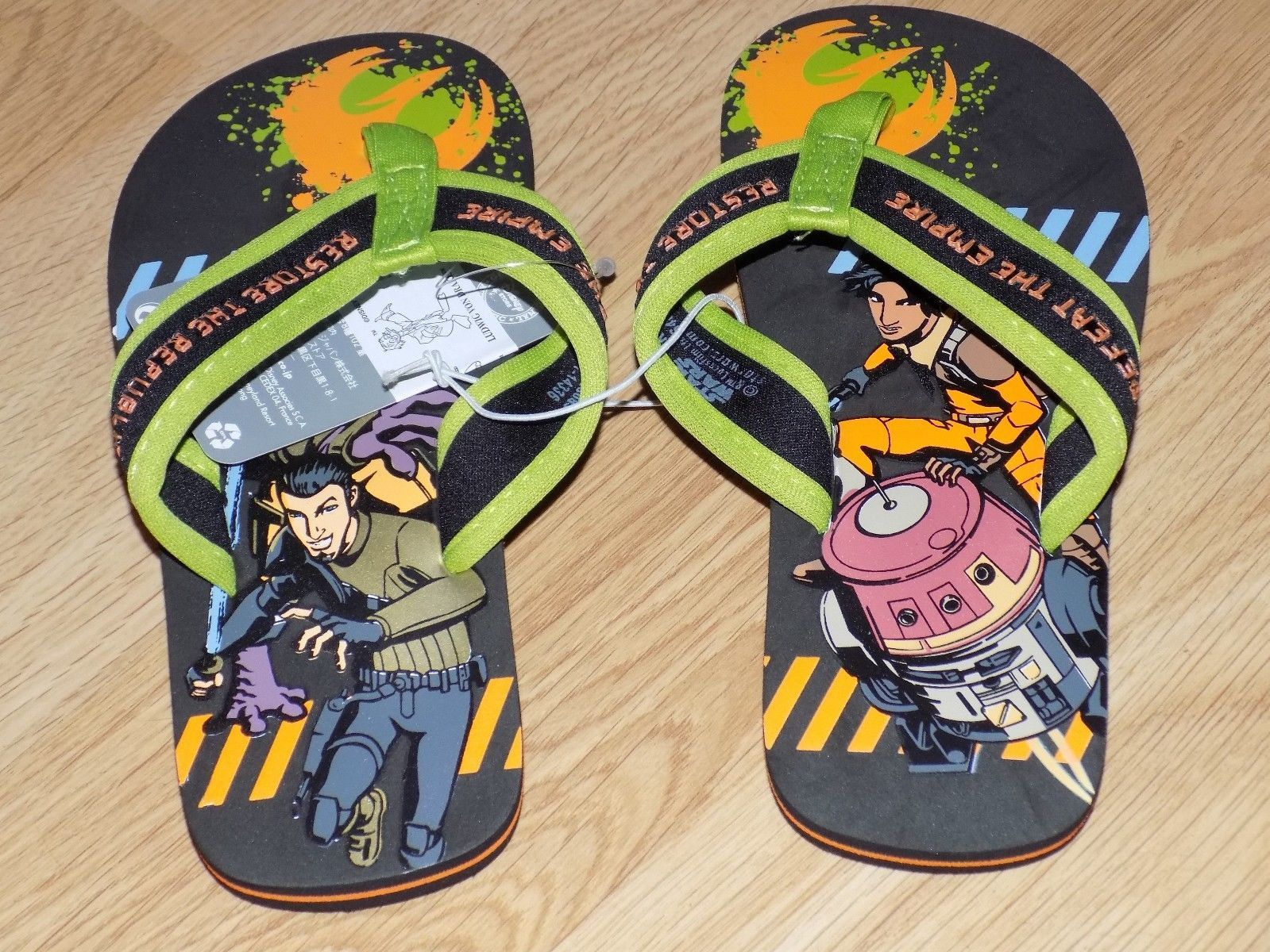 Boy's Size 9-10 Disney Store Star Wars Rebels Green Black Flip Flops Shoes New image 2