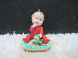 1991 Plastic, A Child's Christmas, Baby In Red Pajamas, Hallmark Ornament - $5.95