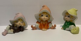 3 Elf Figurines Homco 5213 Shelf Sitters - $19.79