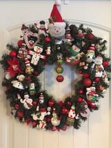 Vintage Christmas ornament wreath Snowman Snowmen 23 Inch 24420 - $133.64
