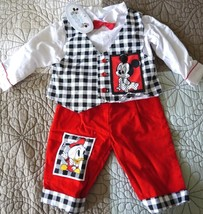 Disney Babies boys outfit bowtie white black red size 6-9 months boy gift - $22.76