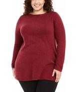 Karen Scott Womens Plus Speckled Boatneck Tunic Sweater Red 0X - $26.99