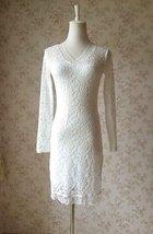 Ivory White Long Sleeve Lace Dress Sweet Heart Lace Formal MIDI Dress Wedding  image 1