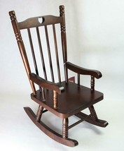 "Schmid Large Doll Size Wood Rocking Chair 15"" Tall Dark Brown c1983 - $24.99"