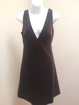 J Crew 8 Dress Brown Velvet Empire Deep V Neck Plunge Sleeveless New - $32.32
