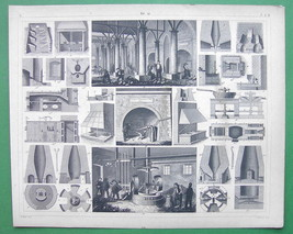 FOUNDRIES & Metal Milling - 1844 SUPERB Antique Print Engraving - $16.20