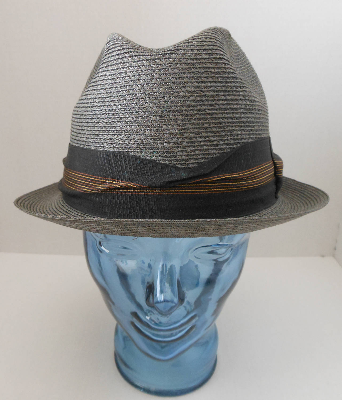 NOS Vintage 60s 70s Mens Fedora Hat Milan Straw Gray Black Gold Band 602237310c80