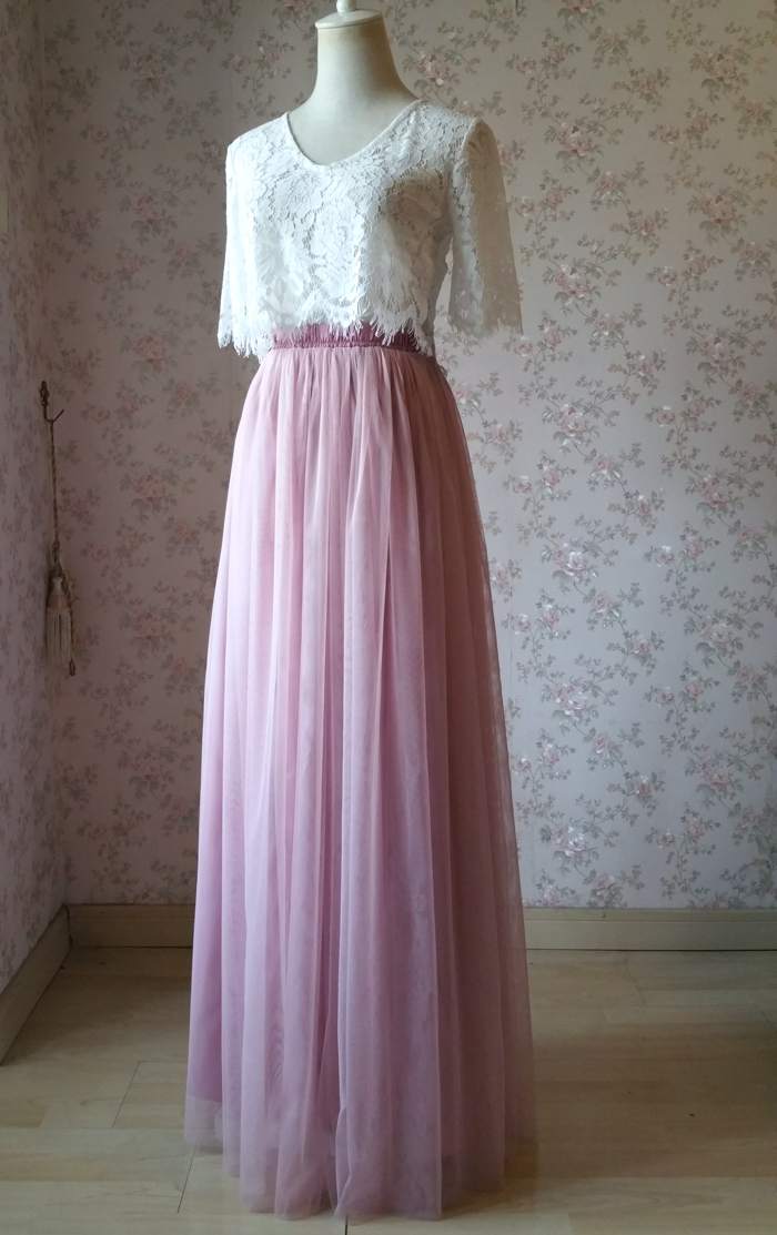 DUSTY PINK High Waist Full Maxi Tulle Skirt Pink Wedding Bridesmaid Tulle Skirts
