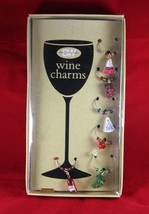 Christmas Wine Charms  Set of SIX  6  New in Box - $25.53 CAD