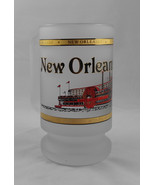 New Orleans Louisiana Mississippi Frosted Glass Painted 22K Gold Beer St... - $30.00