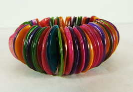 Shell Bracelet Comfortable Stretch Cuff Colorful Natural Rainbow Jewel T... - $14.84