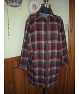 Vintage Women's Coat Woolrich Co. Plaid Wool Blend Fall Colors Poly Lini... - $45.95