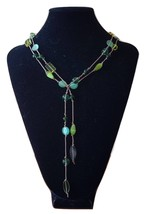 Green Irredescent Glass Beaded Necklace Gold Silk - Verde VSL001 - $65.00