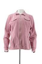 Denim& Co Comfy Knit Denim Zip-Front Jean Jacket Rose Blush S NEW A349249 - $32.65
