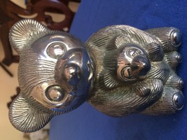 BEAR METAL VINTAGE COLLECTIBLE BANK complete with stopper at bottom - $13.10