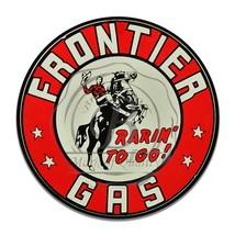 Frontier gas Rarin' To Go Cowboy Horse Design Reproduction Circle Aluminum Sign - $16.09