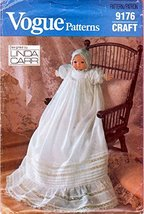 "Vogue Sewing Pattern 9176 c.1980s LINDA CARR Christening Gown for a 16"" ... - $8.76"