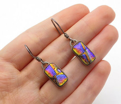 925 Sterling Silver - Vintage Glittering Glass Art Dangle Earrings - E8137 - $27.39