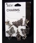 Cousin DIY silver tone CHARMS Butterflies & Birdhouses 10 pcs NEW - $4.50