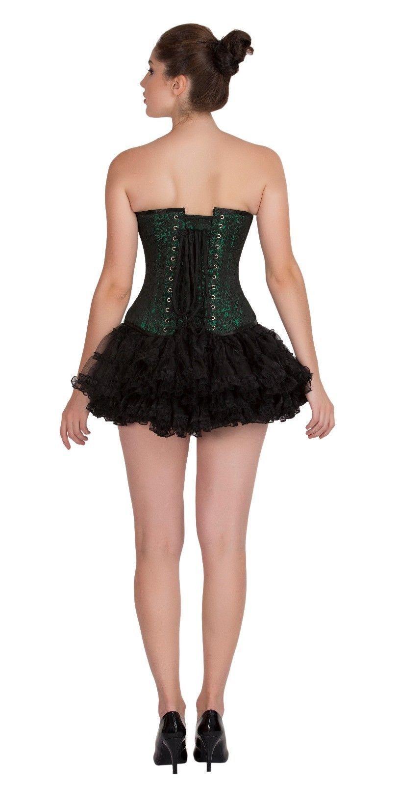 386dae0372b Green Black Brocade Gothic Burlesque Costume Tutu Skirt Overbust Corset  Dress