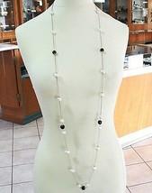 925 Silber Halskette Pink,Onyx Schwarz,Perlen,Lang 130 cm,Kette Rolo,2 Drehzahl image 1