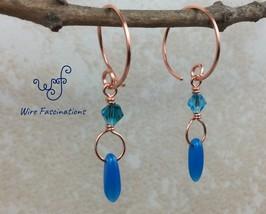 Handmade copper hoop earrings: wire wrapped blue crystal and dagger bead... - $22.00
