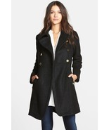 GUESS Double Breasted Boucle Cutaway Coat Sz PXS Black - $67.68