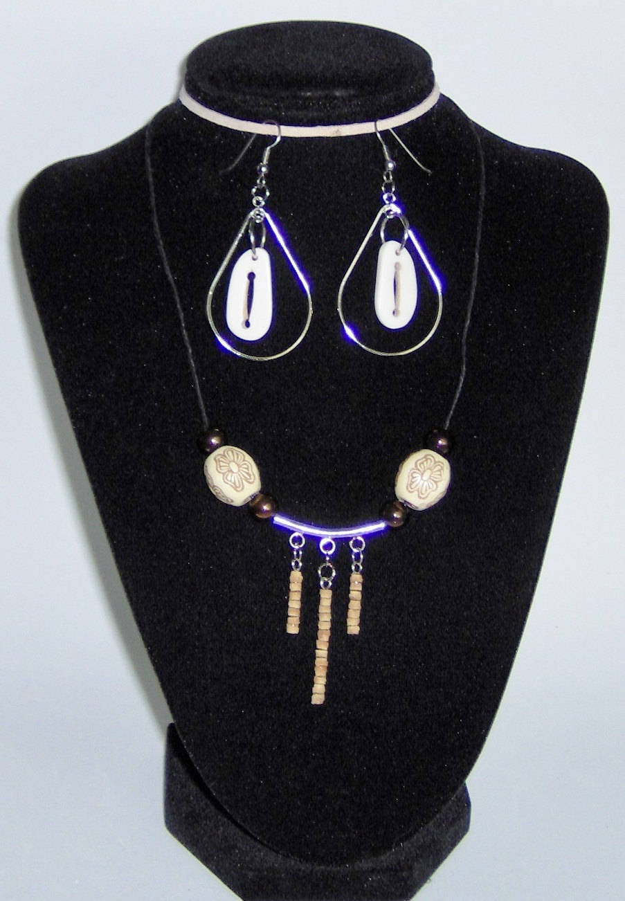 Custom Made! Handcrafted Bone, Wood and Cork Necklace Set,2 Inch Dangles