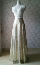 Gold Sequined Maxi Skirt High Waist Full Sequined Wedding Bridesmaid Maxi Skirts image 2