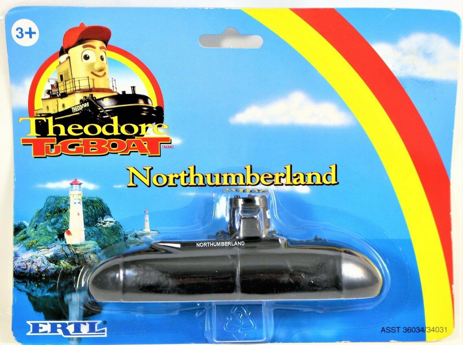 Theodore Tugboat Northumberland Submarine Diecast Metal Ertl 1998 Sealed on Card