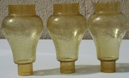 3 Vintage Amber Glass Gas Lamp Light Fixture Sconce Chimney Shade - $65.99
