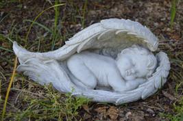 Concrete Baby Angel Wings Memorial Garden Statue - $29.69