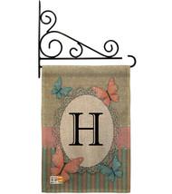 Butterflies H Initial Burlap - Impressions Decorative Metal Fansy Wall Bracket G - $33.97
