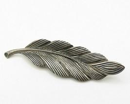 BEAU 925 Silver - Vintage Petite Feather Detail Brooch Pin - BP1880 - $42.50