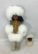 "Alaska Eskimo Inuit Native Doll Leather Faux Fur 10"" Tall with Baby - $23.75"
