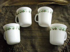 Vintage Corning Ware Coffee Cups Mugs Holly & Berry Trim Set of 4 Milk G... - $22.50