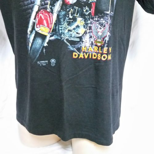 VTG 1989 Harley Davidson 3D Emblem Street Tough T Shirt 80s Tee Biker Trucker XL image 8