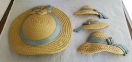 Vintage Burwood Brown Straw Hats With Blue Ribbons Wall Decor Pocket 270... - $9.69