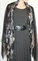 CALVIN KLEIN Black Ikat Flora01 Oversized Sheer Wrap Scarf 70 X 53 NEW - $14.80