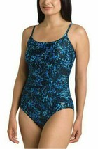 Speedo Women's Athletic Modest Coverage One Piece Swimsuit Blue Size 6 - $16.99
