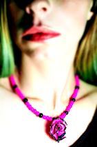 Pink & Black Hand Sculpted Rose Pendant & Beaded Necklace - $55.00