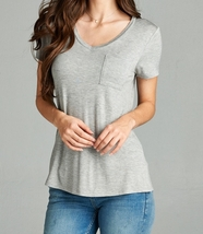 Relaxed Short Sleeve Shirt, V Neck Pocket Tee, Lt Grey Pocket Tee, Womens