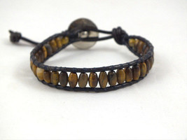 Mens unisex Handmade Beaded Leather Single Wrap Bracelet with brown tige... - $12.00