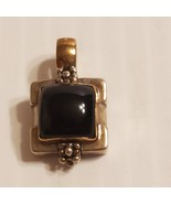 Michael Dawkins 925 Sterling Silver & Gold Black Onyx Square Pendant.    - $140.00