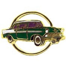 Chevy 1956 Gold Circle Green Car Emblem Pin Pinback  - $7.91