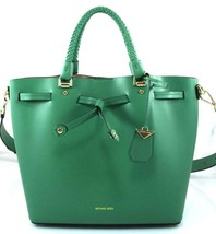 AUTHENTIC NEW NWT MICHAEL KORS $398 LEATHER BLAKELY PINE GREEN MED BUCKE... - $148.00