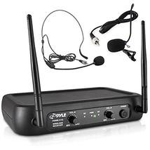 VHF Wireless Microphone System 2 Headset Mics 2 Lavalier 2 Transmitter R... - $49.43