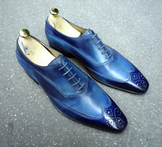 Handmade Men's Blue Wing Tip Toe Brogues Dress/Formal Oxford Leather Shoesf